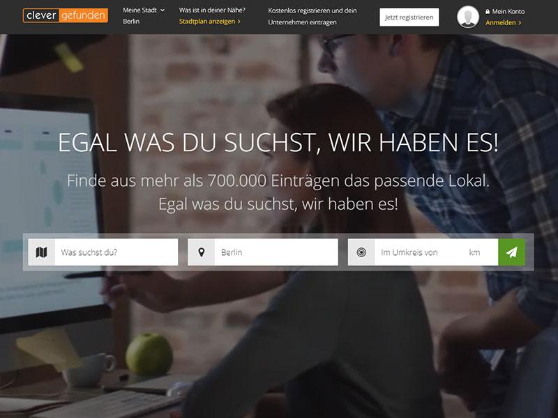 Startseite des Online Branchenverzeichnisses - clever-gefunnden.com